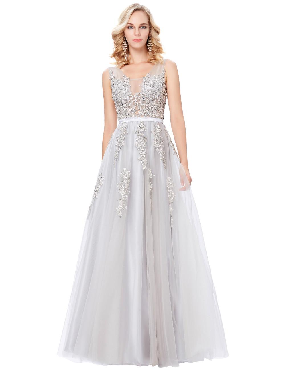 Grace Karin Tulle Appliques Celebrity Prom Dress Sexy V Back Sleeveless Long Royal Blue Robes De Soiree 2017 Longue Prom Dresses 20