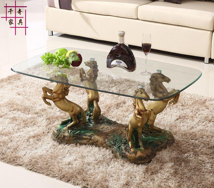 Modern minimalist living room coffee table glass racing for Small glass table for living room