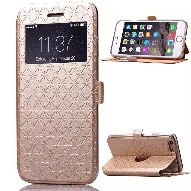 sports shoes 4b5a6 32a23 For Apple iPhone 6s Plus Silicone + Leather Open Window View Flip ...