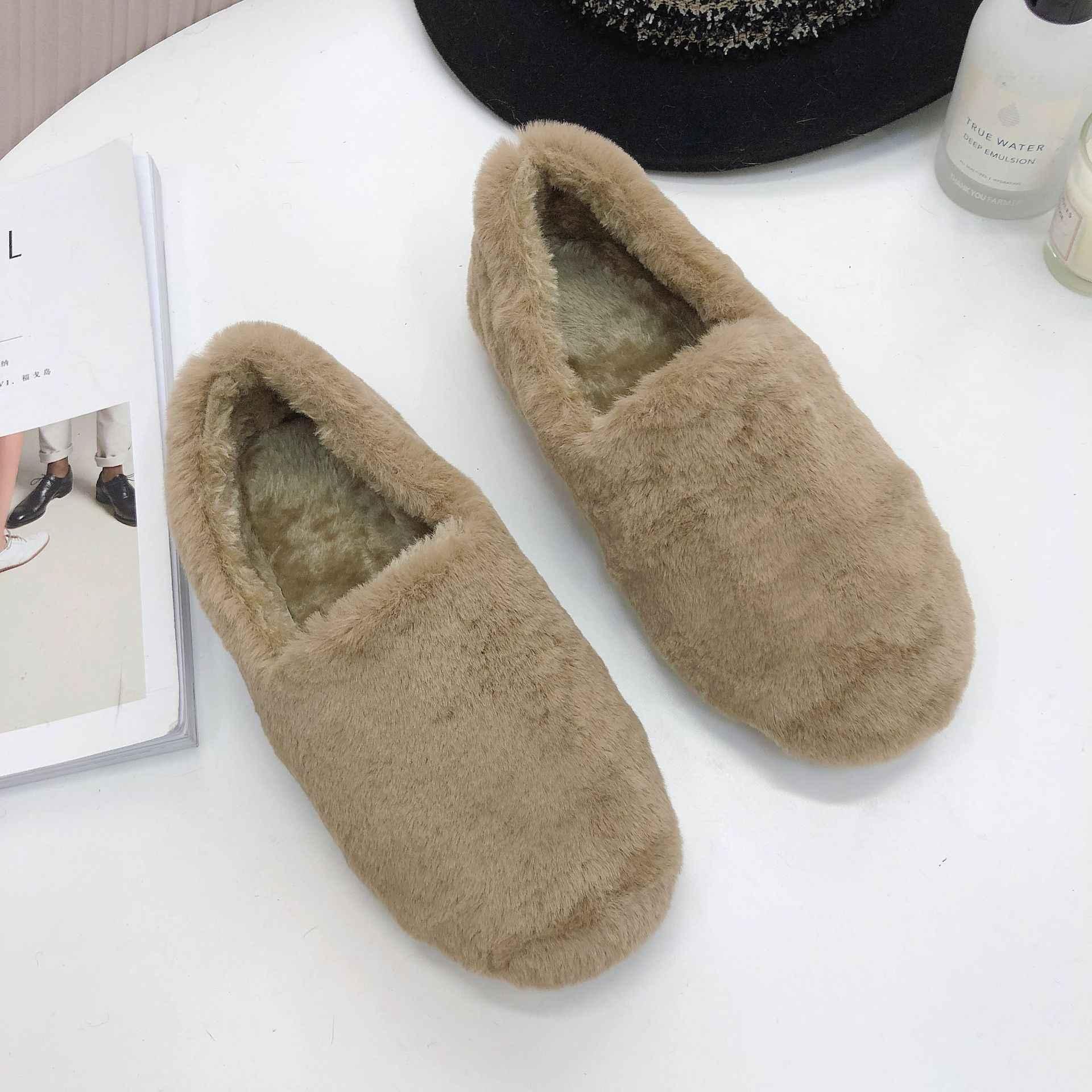 2018 yeni sıcak yumuşak tabanı kadın kapalı kat ayakkabı beyaz siyah yün pamuklu ayakkabılar flanel düz alt yarım çizmeler