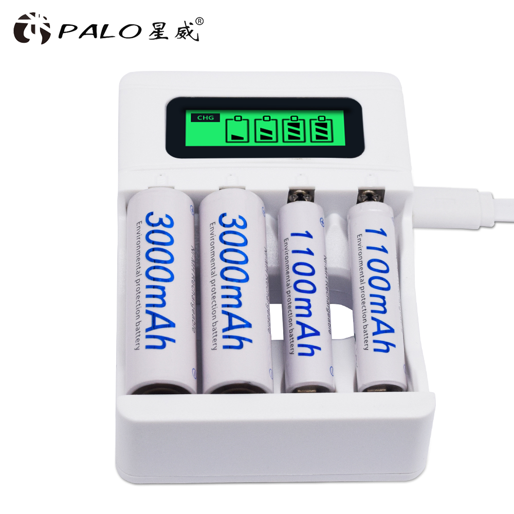 4 Slot Ulrea Fast Smart Intelligent Battery Usb Charger For 1.2V AA AAA NiCd NiMh Rechargeable Battery LCD Display Quick Charger