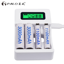 цена на 4 Slots Ulrea Fast Smart Intelligent Battery Usb Charger For AA / AAA NiCd NiMh Rechargeable Batteries LCD Display