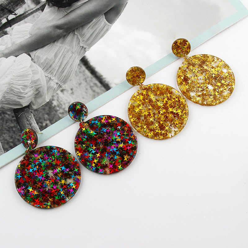 SUKI Colorful Bling Satr ZA*a Jewelry Acrylic Resin Drop Earrings For Women Geometry Big Round Glitter Earrings Acetate Brincos
