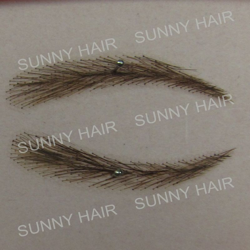 hand made human hair false eyebrow photo shape and color hand tied movie make up eyebrow whole sale hand made human hair false eyebrow 013 dark brown color invisible net
