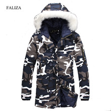 FALIZA New Camouflage Down Parkas Jackets Men's Winter Long Parka Hooded Coat Fashion Thick Warm Men Military Down Overcoat MY-P