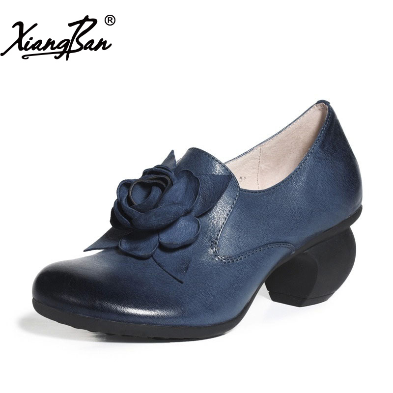 2018 Spring Women Shoes Genuine Leather Medium Heel Ladies Pumps Black Blue Handmade Female Shoes Chunky Heels Xiangban hats & scarves for kids