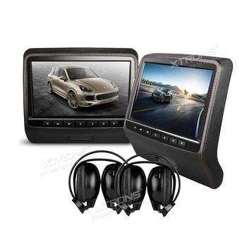 XTRONS 2x9inch Black HD Digital Screen Leather Styled Car Headrest DVD Player HDMI Port stereo with 2pcs IR Wireless headphones
