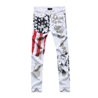Famous Brand Mens Jeans Pants Casual Stretch White Jeans Men Striped Flags Printed Fashion Cotton Large