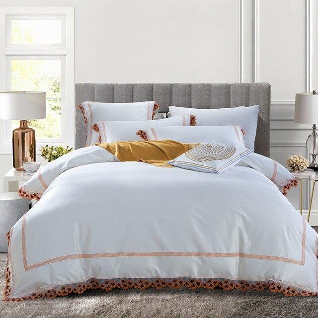 Luxury Egyptian Cotton Embroidery Lace Bedding Sets Duvet Cover Flat Sheet Queen King Size 4pcs 6pcs Linen Set White Color