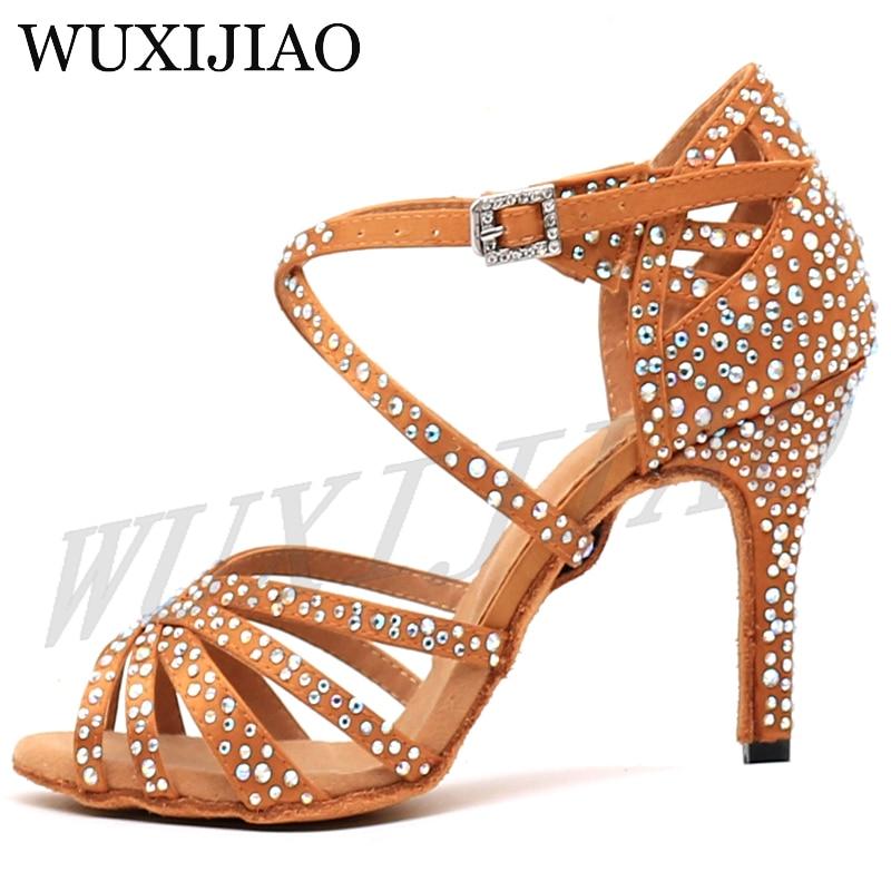 WUXIJIAO Women Party Dance Shoes  Satin Shining rhinestones Soft Bottom Latin Dance Shoes Woman Salsa Dance Shoes heel5CM-10CM 3
