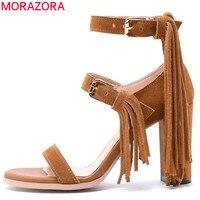 MORAZORA 2017 Hot Sale Summer New Arrive Women Sandals Fashion Buckle Tassels High Heels Sandals Cow