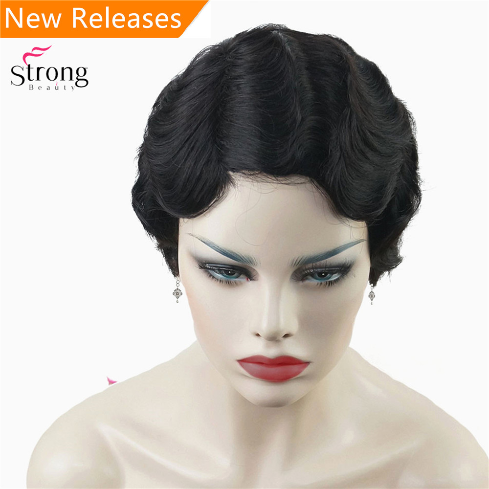 Image 2 - Wine red/Black African Short Finger Waves Hairstyles Human Hair Wig Flapper Hairstyle Wig For Black WomenSynthetic Blend Wigs   -