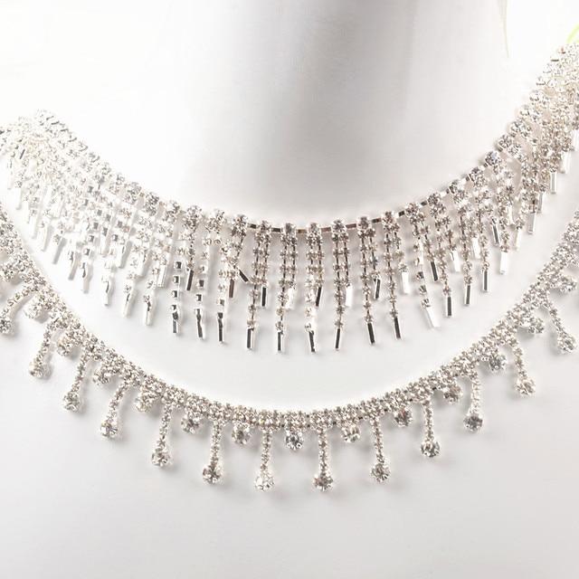1 Yard Beautiful Rhinestone Crystal Silver Tassels Tone Pendant Chain  wedding Necklace decoration Costume Applique Trims ddcca3f8dd12