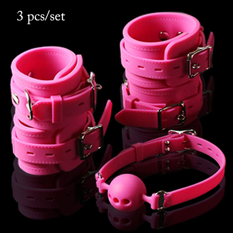 Pure silicone hand ankle cuffs open mouth gag adult games slave bdsm fetish sex toys for couples handcuffs gag ball bondage kit 6pc lot sex pillow hand cuffs leg cuffs mouth gag goggles ring adult sex toys for couples bondage fetish erotic toys