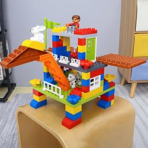 Image 4 - DIY Colorful City House Roof Big Particle Castle Building Blocks Compatible Duploe Creative Bricks Toys For Children Kids Gifts