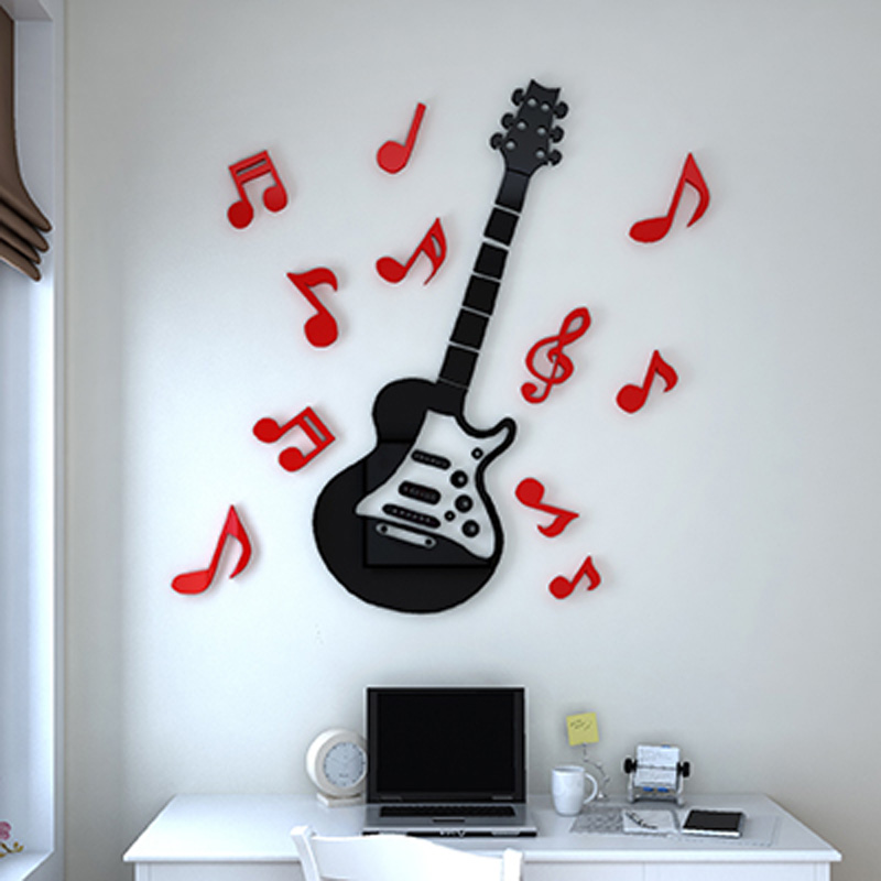 Popular Rock Guitar Wall Sticker 3D Acrylic Stickers <font><b>Wonderful</b></font> Home Kids Room Decorations Birthday Gift