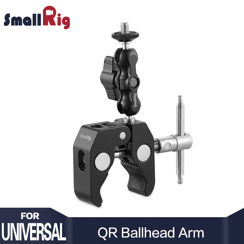 SmallRig Magic Arm Video Handlebar Camera Clamp with Ballhead Arm DSLR Camera Quick Release Clamp for Monitor Viewfinder magic arm