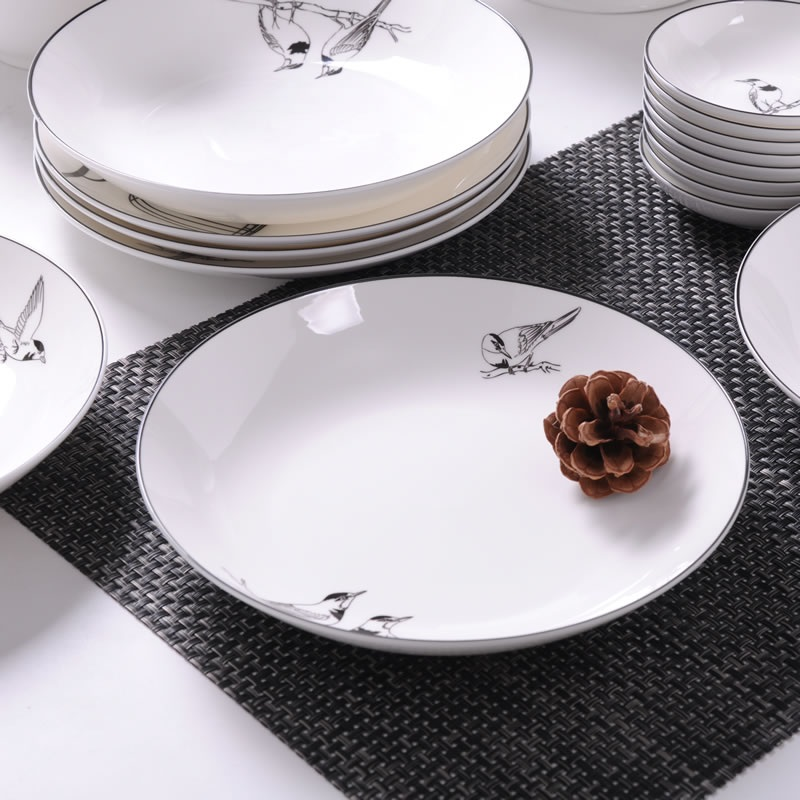 Bone China dish deep plate shallow dish creative European style steak plate porcelain bird bird microwave new h serveware