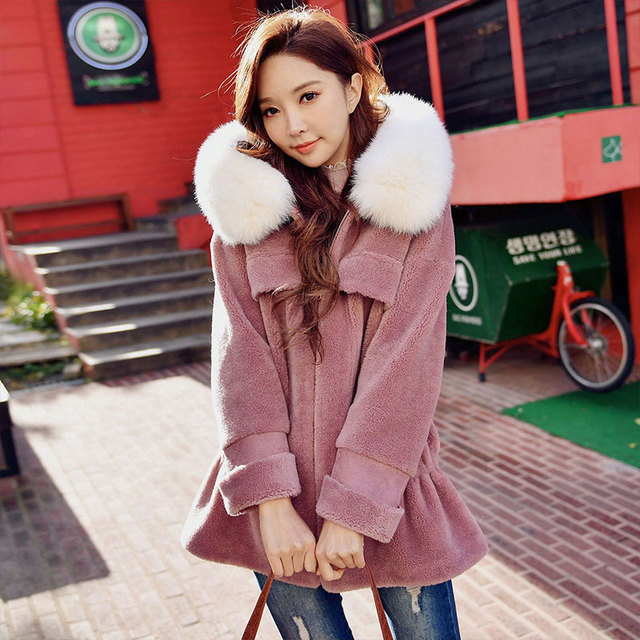 Dabuwawa Pink Winter Real Fox Fur Collar Coat Outwear Women Luxury Cute Thick Warm Fur hooded Mid-Long  Coats