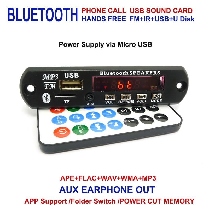 Wireless Bluetooth 12V 5V Micro USB MIC 3.5MM AUX Earphone Out APE FLAC MP3 WMA Decoder Board Audio Module USB TF Radio For Car bluetooth