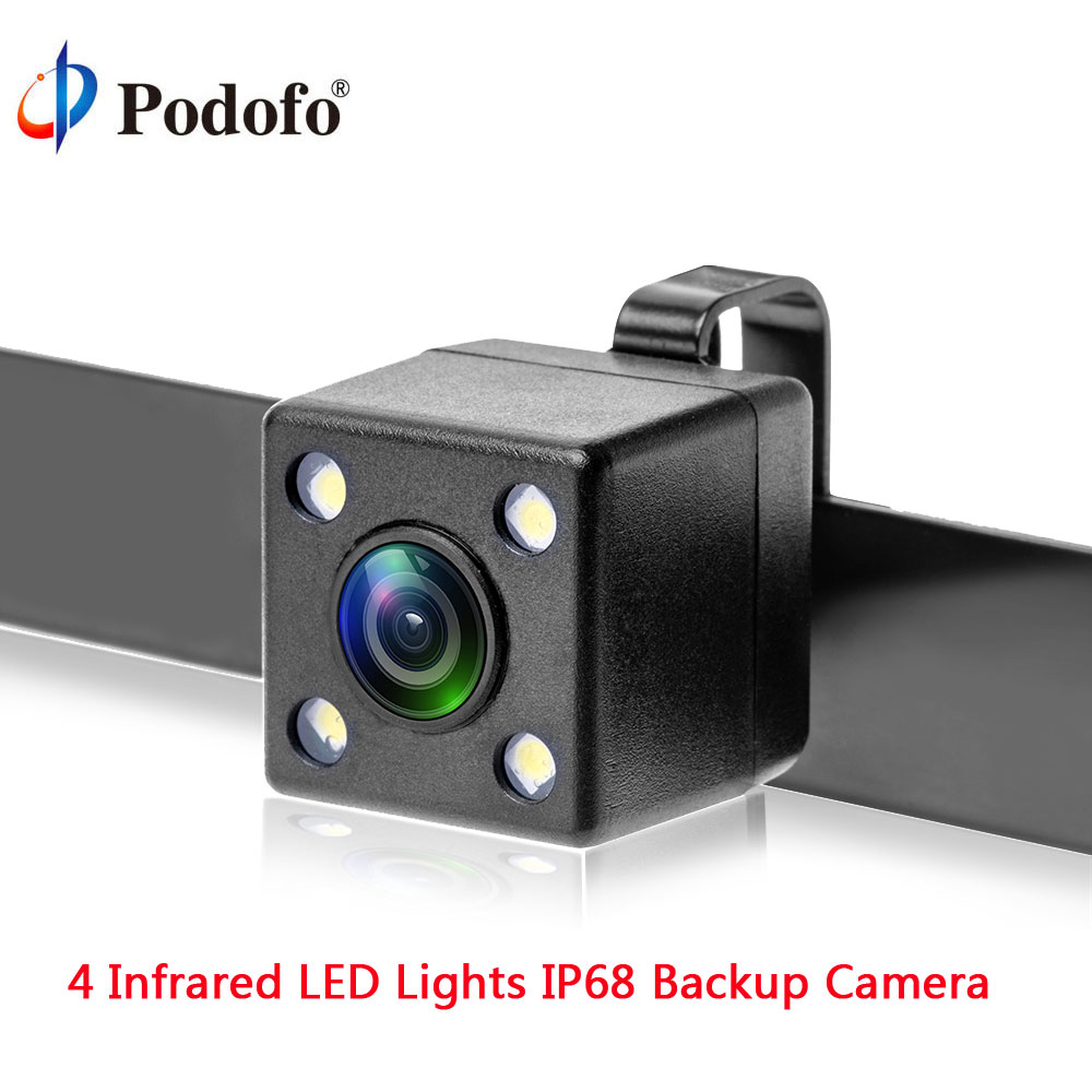 Podofo Car Rear View Reversing Backup Parking Camera 4 Infrared LED Lights Night Vision IP68 Wide Angle HD Parking Assistance