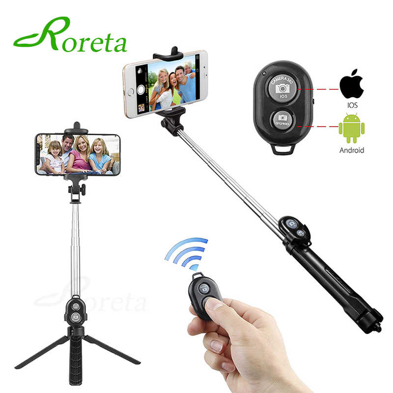 Roreta 3 Di 1 Nirkabel Bluetooth Selfie Stick Handheld Monopod Shutter Remote Lipat Mini Tripod untuk iPhone XR 8X7 6 S PLUS