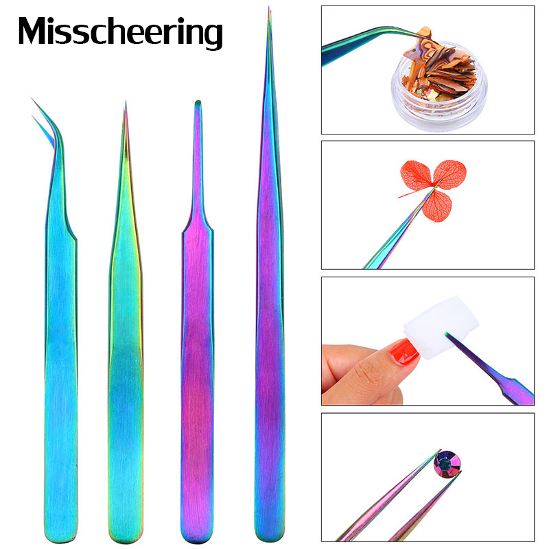 1 Pcs Curved Straight Stainless Steel Chameleon Tweezer Eyelash Extensions Nail Art Rhinestones Pick Up Makeup Nail Tool