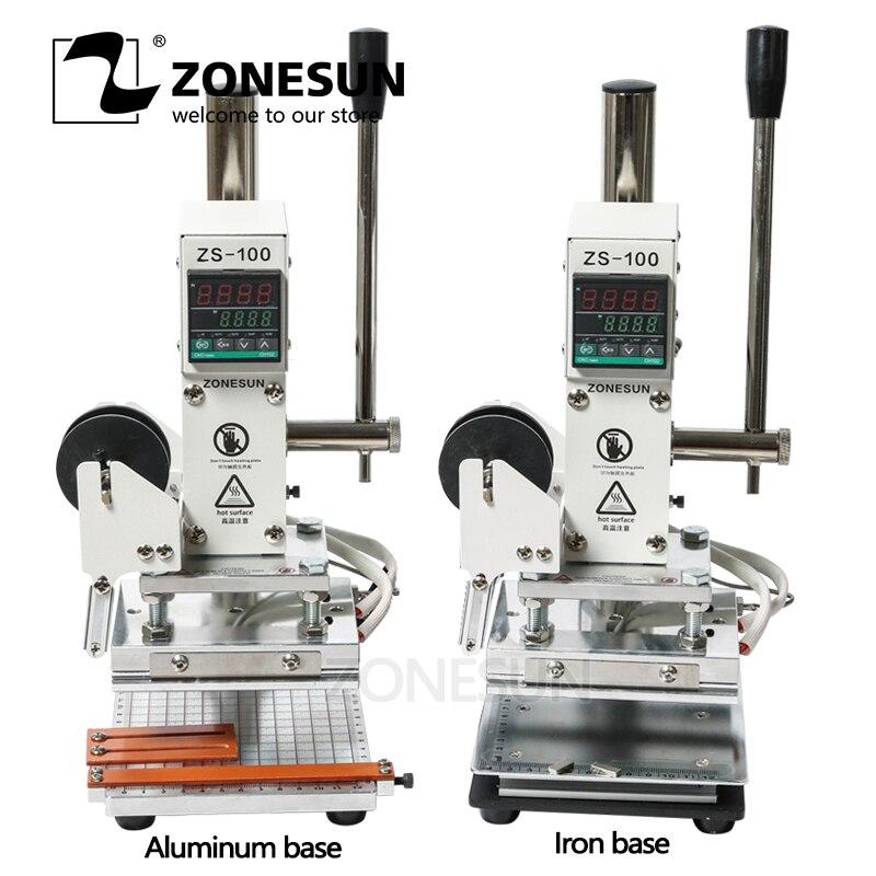 ZONESUN Double Usage Manuel Bronzage Gaufrage Machine Embosseuse Dorure à Chaud Machine pour PVC Carte en cuir bois papier