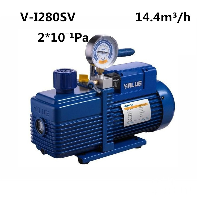 220V 750W 4L Flow Rate 14.4m3 / h Vacuum Pump V-i280SV Two-stage New Refrigerant Vacuum Pump refrigeration tools 220v 180w r32 r1234yf special new refrigerant vacuum pump single stage pump air conditioning and refrigeration tools v i125y r32