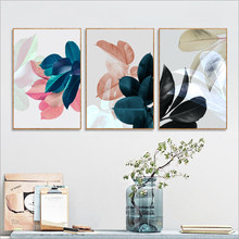 Blue Plant Canva Art Print Botanical Poster Tropical Leaf Canvas Painting Pink Wall Pictures For Home Living Room Modern Decor(China)