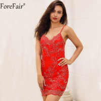 ForeFair Black Red Gold Embroidery Bodycon Lace Dress Sexy V Neck Backless Club Party Dresses