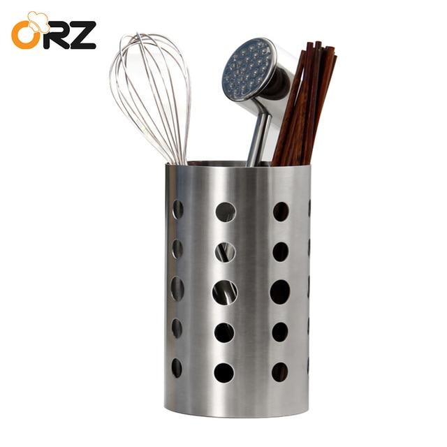 Kitchen Utensil Holder Part - 35: ORZ Stainless Steel Chopsticks Tube Tableware Storage Container Cutlery Kitchen  Utensil Holder Draining Kitchen Caddy Box