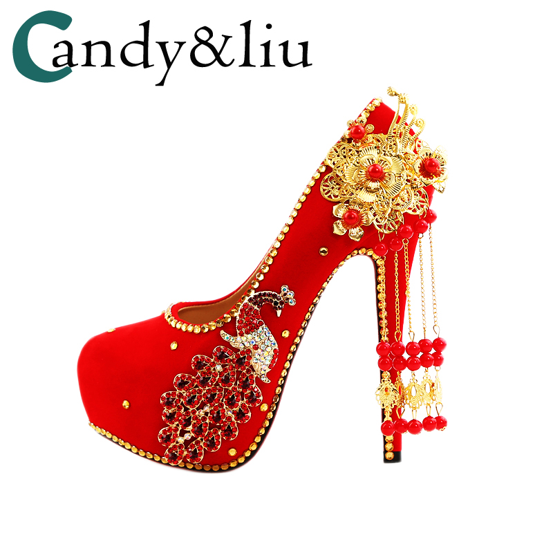 New red bride shoes, wedding shoes, Chinese wind wedding dress, diamond, high heels, female Chinese Korean shoes big size large 2018 bride red wedding shoes old beijing national wind embroidered cloth shoes chinese retro tassels show shoes