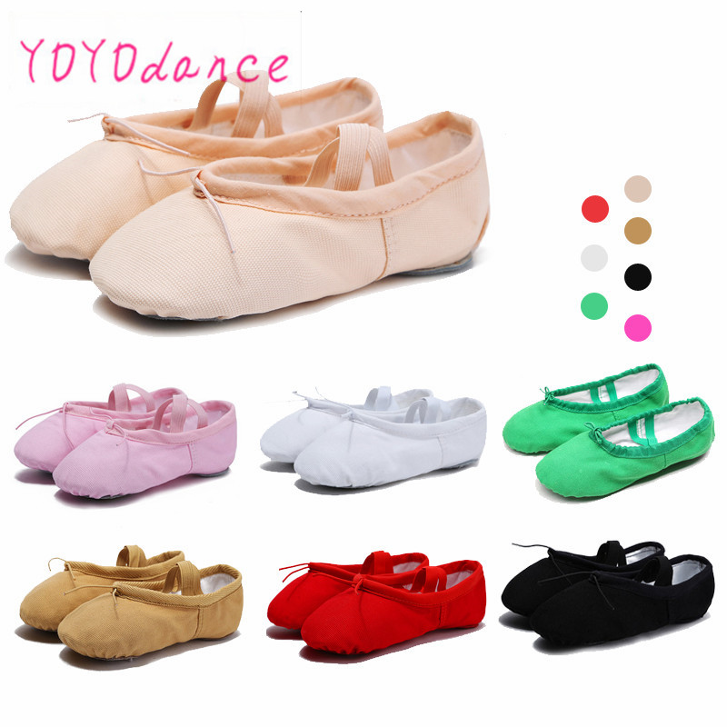 New Arrival 6 color Children Kids Girls quality Canvas Ballet Dance Shoes Kids Girls Slippers Pointe