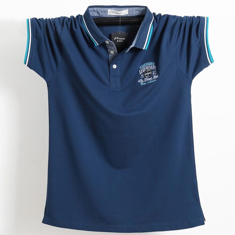 Plus Size Euro Size 4XL 5XL   Polo   Shirt Men High Quality 95% Cotton 3D Embroidery elasticity Brand Tace & Shark Men's   Polo   Shirt