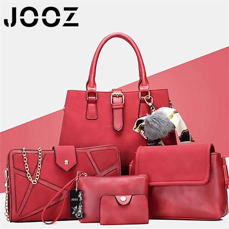 JOOZ Brand Luxury PU Leather Women Handbag 3 Pcs Composite Bags Set Female Shoulder Crossbody Bags Coin Purse Clutches Wallet