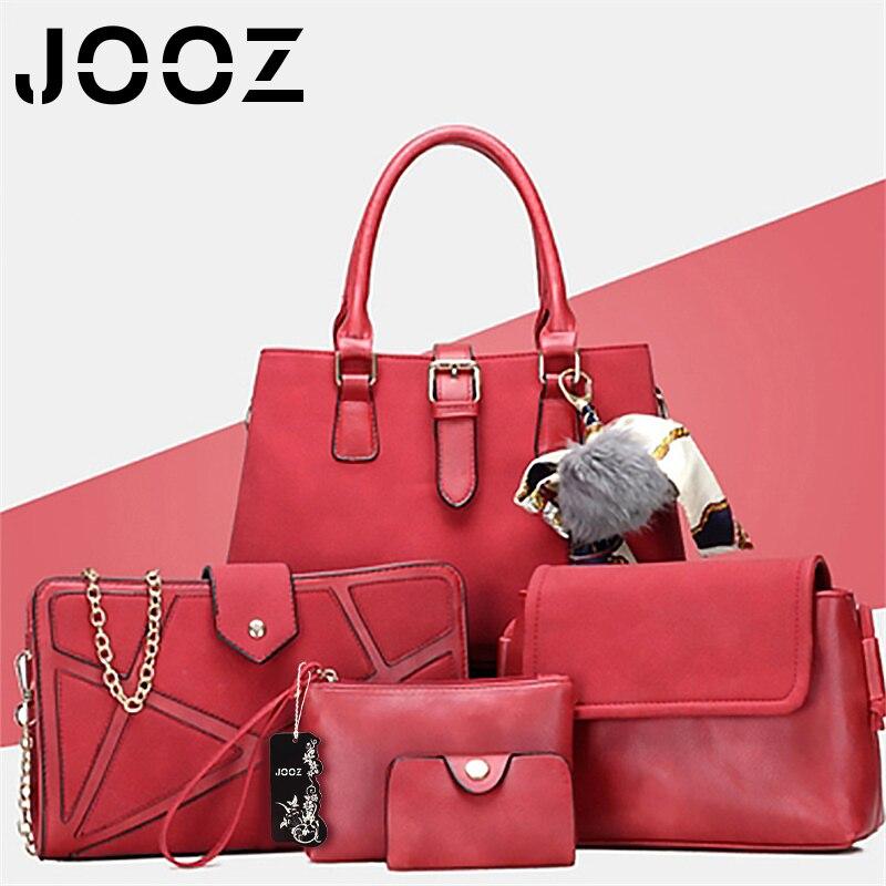 ФОТО JOOZ Brand Luxury Women Pu Leather Handbags Casual Cute Handbag 3 Pcs Composite Bag Shoulder Crossbody Bags Purse Clutch