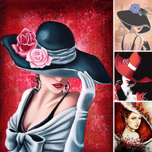 hat Girl Diamond Painting flower Full Square 5d Diy Diamant cartoon cap Embroidery Abstract Art Home Decor Y72