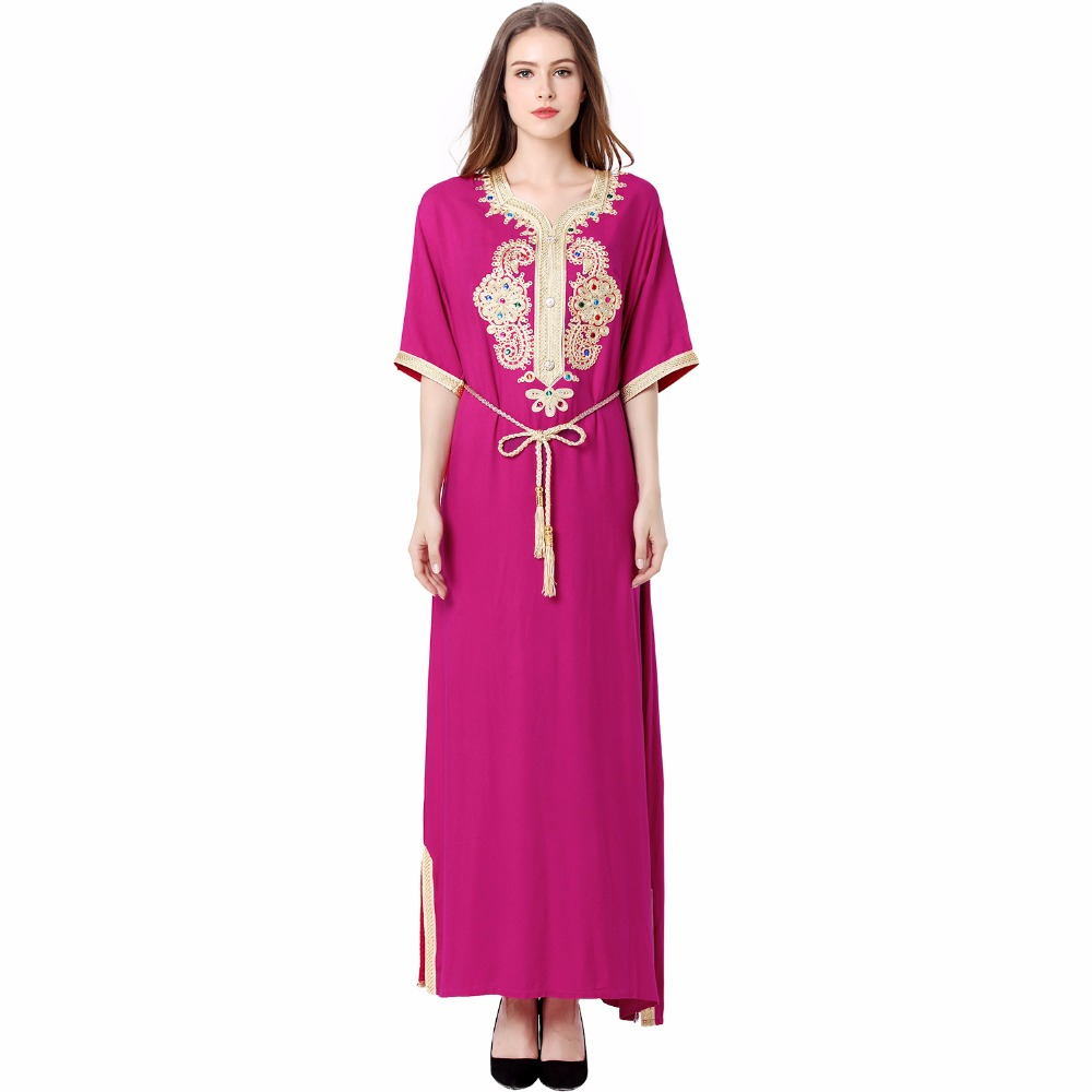 Mujeres Musulmanas de manga larga vestido largo ropa islámica kaftan ...