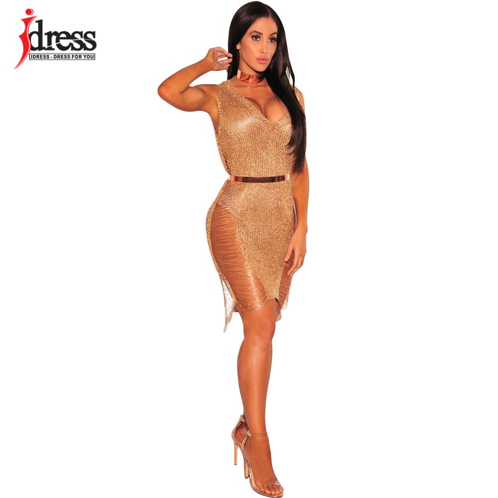 IDress 2017 Sexy Deep V Neck Hollow Out Golden String Knitting Summer Bodycon Women Dresses Sleeveless Mini Club Dress Vestidos (7)