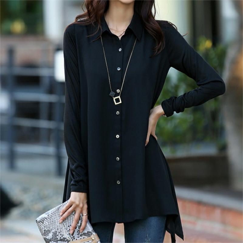 Plus Size M XXXXXL Spring 2017 Cotton Long Shirt Women Tops Black ...