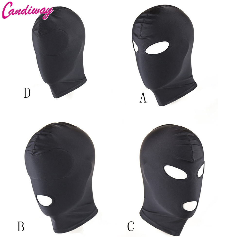 BDSM Fetish Mask Hood Sexy Toys Open Mouth Eye Bondage Party Mask Cosplay Slave punish Headgear Mask Adult Game Sex Products