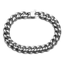 HIP Hop Silver Color Chain & Link Cuban Bracelets Biker Titanium Steel Jeans Buckle Curb Bracelet Bangles For Men Jewelry