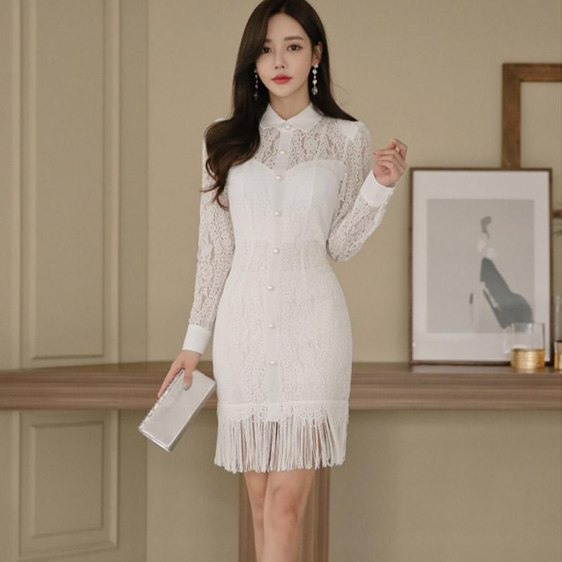 Automne nouveau 2018 coréen OL élégance slim sexy couture gland sac hanche robe femme col claudine à manches longues blanc dentelle robe
