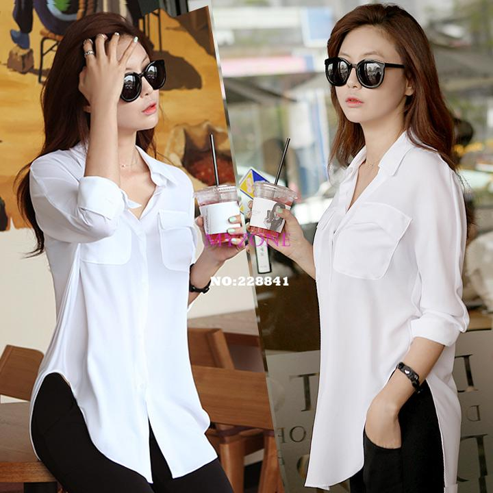 Women Blouses Summer 2014 Sexy Sheer Chiffon Blouse Button Down ...