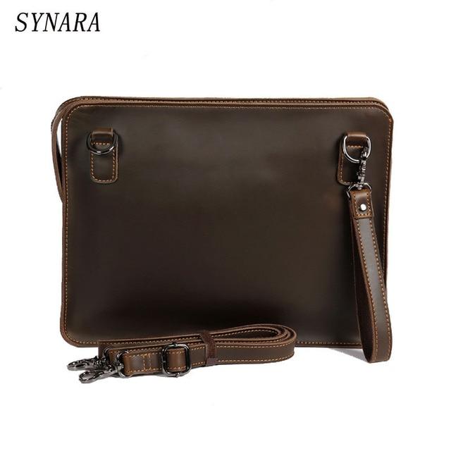 Vintage Crazy Horse Leather Messenger Bag Ipad Mini Envelope Shoulder Men Clutch