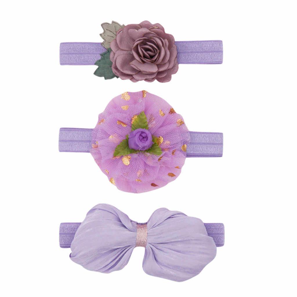 3 piezas de diadema Floral para niñas, diadema para bebé, diadema elástica, diadema para bebé, accesorios para el cabello para bebé, conjunto de diadema opaski dla niemowlaka