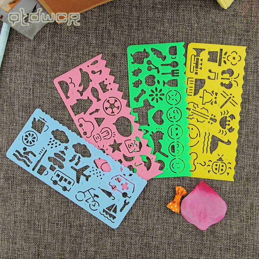 4PCS Cute Art Graphics Symbols Drawing Template Ruler Student Kids Drafting Stencil Ruler Stationery