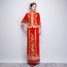 Luxury ancient Royal Red Chinese wedding dress Traditional Bride Embroidery Cheongsam Women Oriental Dragon Phoenix QiPao S-XXL(China)
