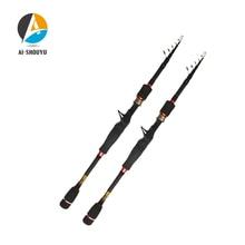 AI-SHOUYU Carbon Fiber 1.95M 2.1M 2.4M 2.7M Portable Telescopic Fishing Rod Multifunctional Casting Fishing Tackle Sea Rod
